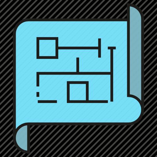 architecture, blueprint, design, file, paper icon