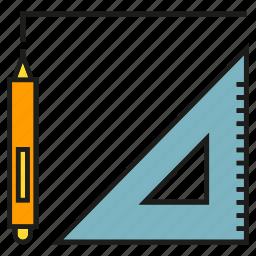 architecture, design, pen, pencil, ruler, tool icon
