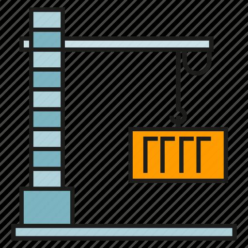 container, crane, dock, hang, hoist, port icon