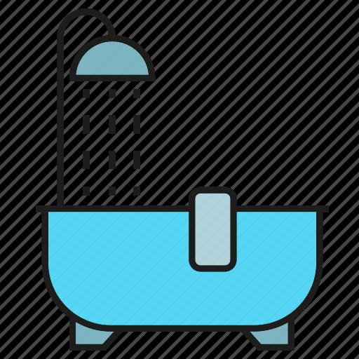 bath, bathe, bathtub, shower, tub icon