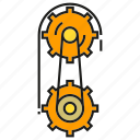 cog, dial, equipment, gear, hoist, machinery, rotate icon