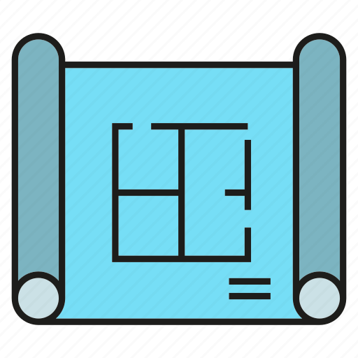 architecture, blueprint, document, file, paper icon