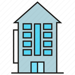 accommodation, apartment, building, condo, hostel, rest, room icon