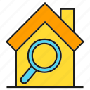 estate, home, house, magnifier, real estate, search icon