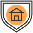 building, estate, home, house, protect, real, shield icon