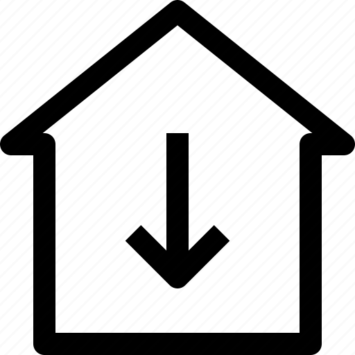 apartment, arrow, building, down, home, house, property, real estate icon