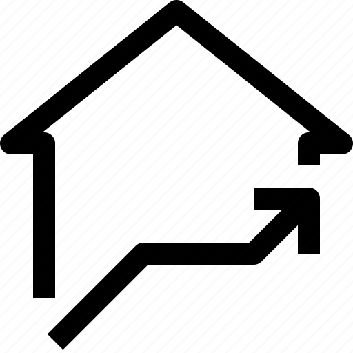 apartment, arrow, building, home, house, property, real estate, up icon