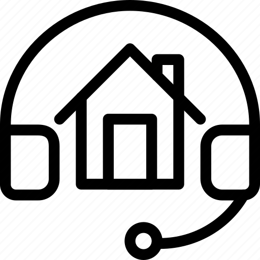 building, estate, headphone, home, house, property, real, rent icon