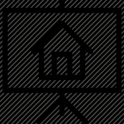 advertisement, building, estate, home, house, presentation, property, real, rent, slides icon