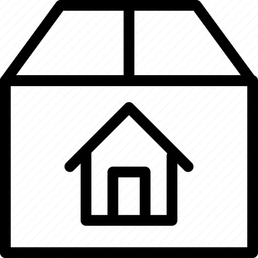 box, building, delivery, estate, home, house, package, property, real, rent icon