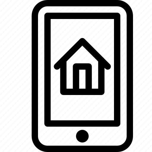 building, estate, home, house, mobile, phone, property, real, rent, smartphone icon