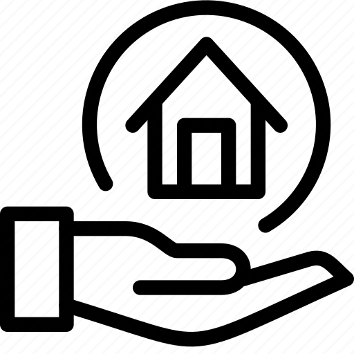 building, estate, hand, home, house, property, real, rent icon