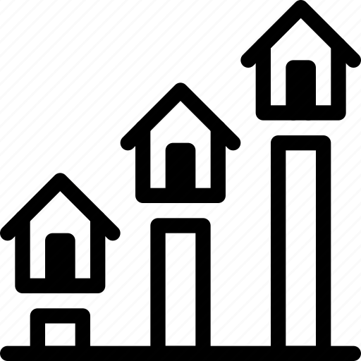 analytics, building, estate, graph, growth, home, house, property, real, rent icon