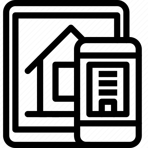 building, estate, home, house, online, property, real, rent, smartphone icon