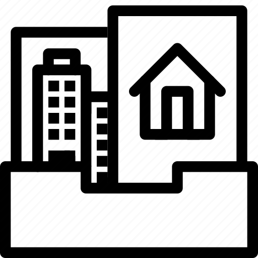 building, estate, folder, home, house, property, real, rent icon