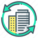 offices, buildings, business, exchange, arrows, business offices icon