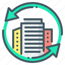 business, buildings, exchange, offices, arrows, city, business offices icon