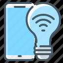 bulb, light, mobile, smart, smart light, smart light bulb, smartphone icon