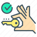 key, hand, sell house, check mark, open, close on property icon