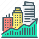 city, growth, price, property, real, chart, pricing icon