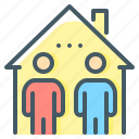 co-living, home, house, living, people, sharing, home sharing icon