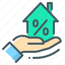 discount, hand, home, loan, mortage, home loan icon