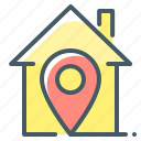 estate, home, house, navigation, pin, location icon