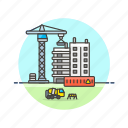 apartment, building, condominium, construction, estate, property, real icon