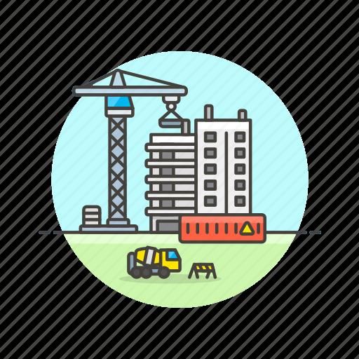 apartment, building, condominium, construction, estate, property, real icon