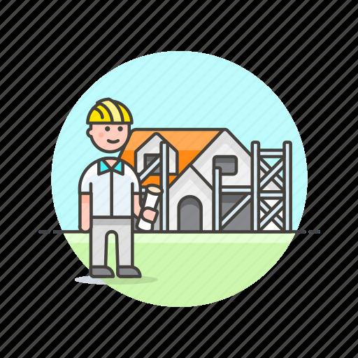 architechure, construction, estate, helmet, man, real icon