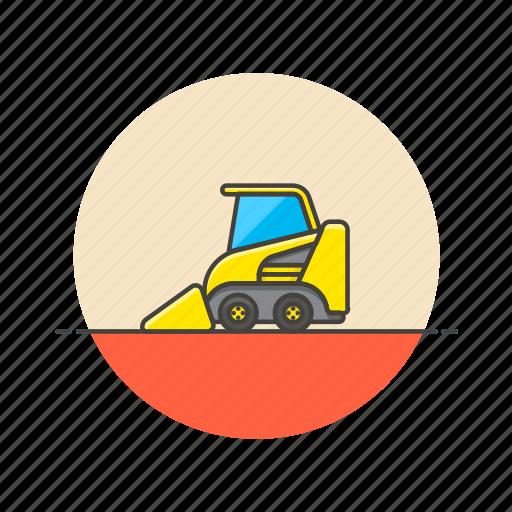 bulldozer, construction, estate, real, tool, transport, vehicle icon