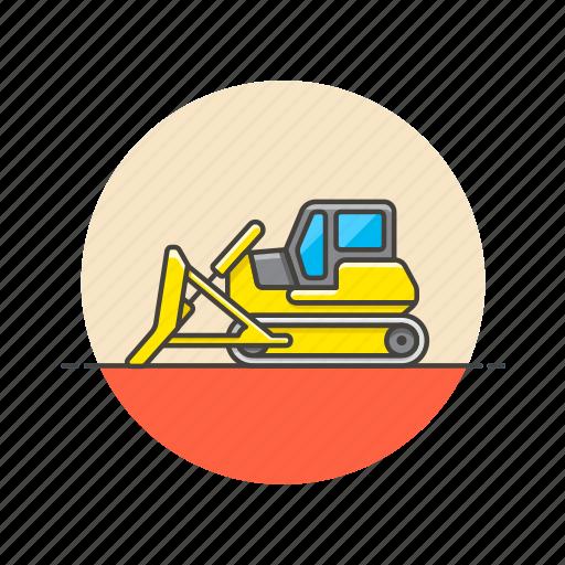bulldozer, construction, estate, real icon