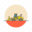bulldozer, construction, estate, real, tool, transport, vehicle icon