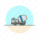 build, cement, construction, estate, mixer, real, transport, truck icon