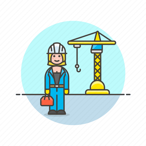 construction, engineer, estate, helmet, real, site, woman icon