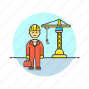 constructing, construction, engineer, estate, helmet, man, real, site icon