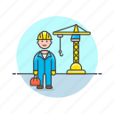 build, construction, engineer, estate, helmet, man, real, site icon