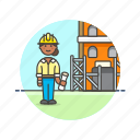 building, construction, estate, helmet, property, real, site, woman icon