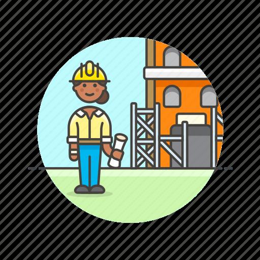 building, construction, estate, helmet, property, real, site, woman icon