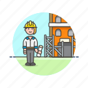 architect, construction, estate, foreman, helmet, real, site, woman icon