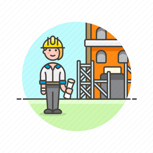 architect, construction, estate, foreman, helmet, real, site, woman icon