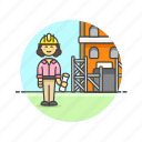 build, construction, estate, foreman, helmet, real, site, woman icon
