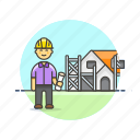 build, construction, estate, foreman, helmet, man, real, site icon