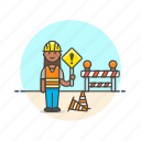 construction, estate, helmet, real, sign, woman, work, worker icon