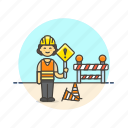 construction, estate, officer, real, road, sign, woman, worker icon