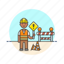 construction, estate, helmet, man, real, road, sign, worker icon