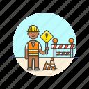 construction, estate, real, worker, helmet, man, road, sign