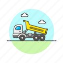 build, construction, dump, estate, real, transport, truck, vehicle icon