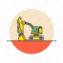 construction, estate, excavator, real, tool, transport, vehicle icon