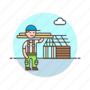 building, construction, estate, house, man, real, worker icon